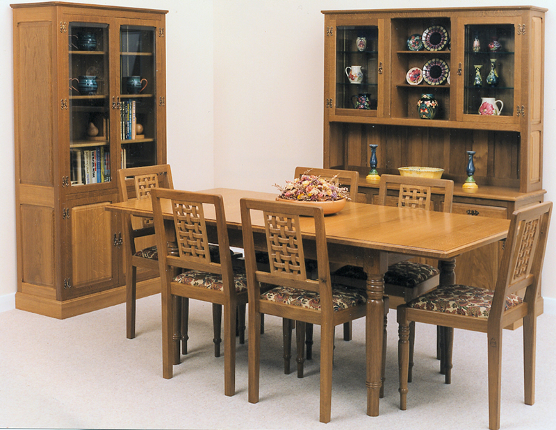 Classic Dining Table With Lattice Back Chairs Dresser And Tall Cabinet