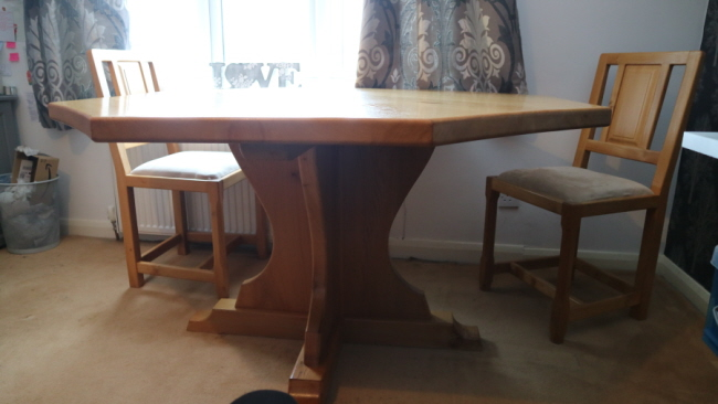 Elm octagonal table and set of chairs, for sale on behalf of customer. Offers